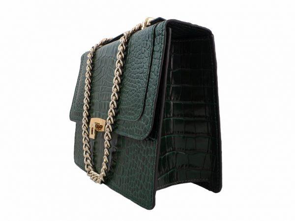 Bolso con bandolera messenger verde piel grabada en cocodrilo - Pielxpiel-3