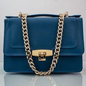 Bolso Messenger Pocket piel saffiano azul HT