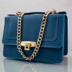 Bolso de piel messenger pocket azulBolso Messenger Pocket piel saffiano azul cierre
