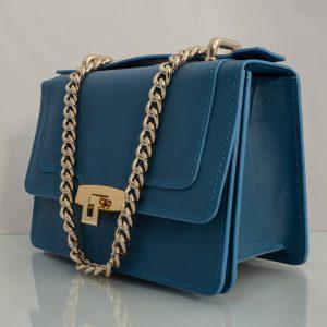 Bolso Messenger Pocket piel saffiano azul lateral