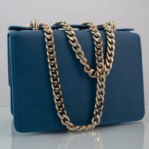 Bolso Messenger Pocket piel saffiano azul cadena