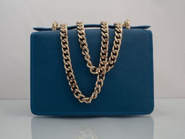 Bolso Messenger Pocket piel saffiano azul trasera