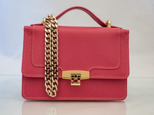 Bolso Messenger Pocket piel saffiano rosa HT