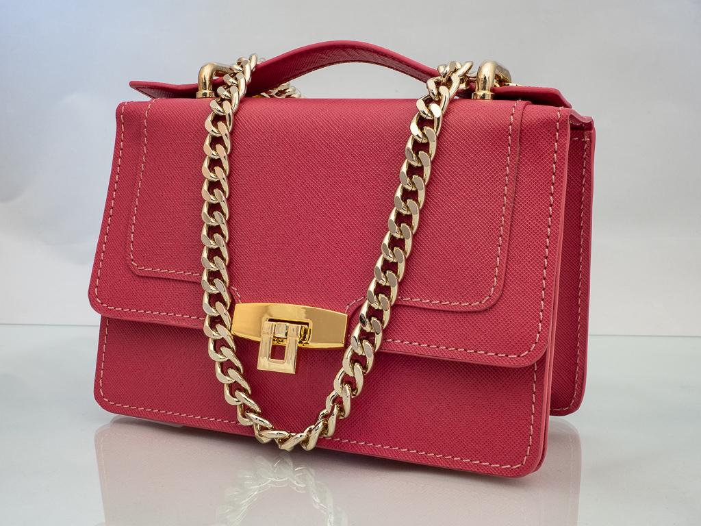 Bolso Messenger Pocket piel saffiano rosa
