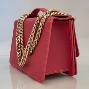 Bolso Messenger Pocket piel saffiano rosa fuelle
