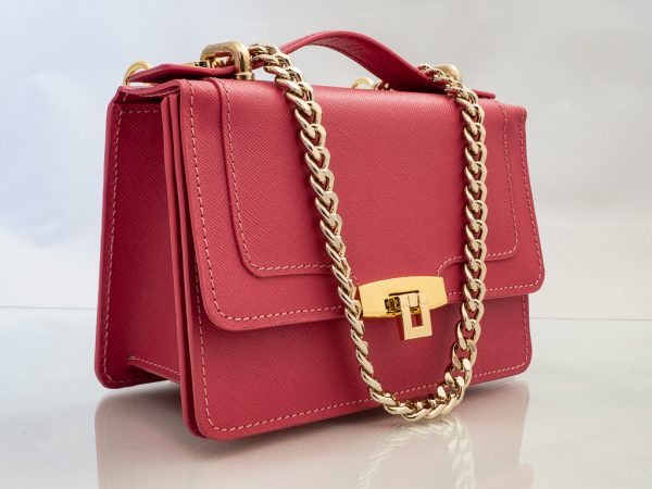 Bolso Messenger Pocket piel saffiano rosa cierre