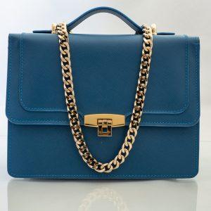 Bolso Messenger Saffiano Azul frontal