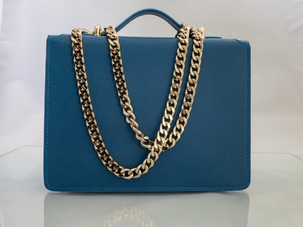 Bolso Messenger Saffiano Azul fuelle