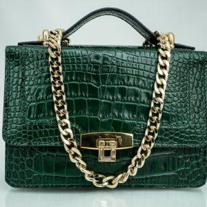 Bolso Messenger Pocket piel coco samantha verde frontal