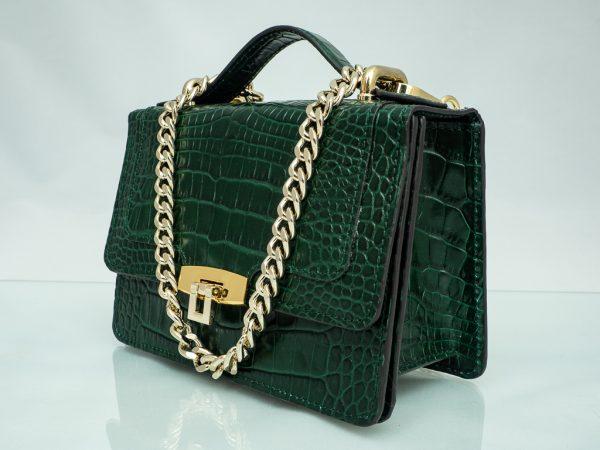 Bolso Messenger Pocket piel coco samantha verde lateral