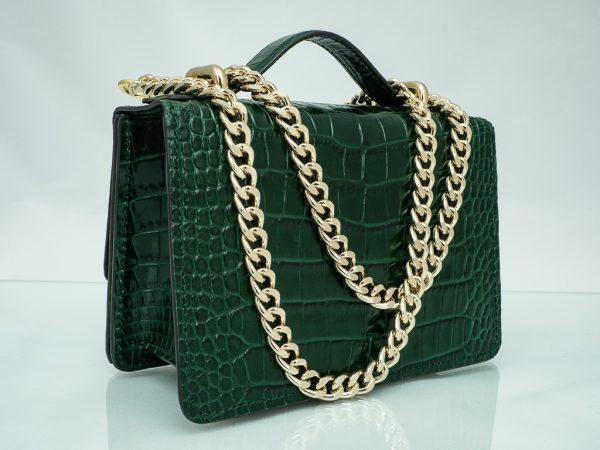 Bolso Messenger Pocket piel coco samantha verde cadena
