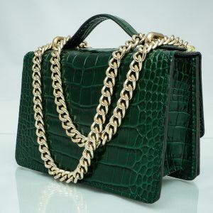 Bolso Messenger Pocket piel coco samantha verde fuelle
