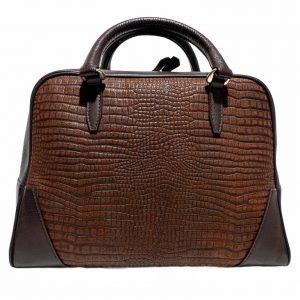 Bolso amazonas piel lagarto grabado marrón chocolate- Pielxpiel-2