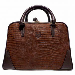 Bolso amazonas piel lagarto grabado marrón chocolate- Pielxpiel-7
