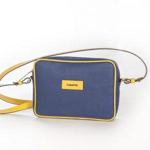 Bolso Shoulder Bag lona y piel amarillo