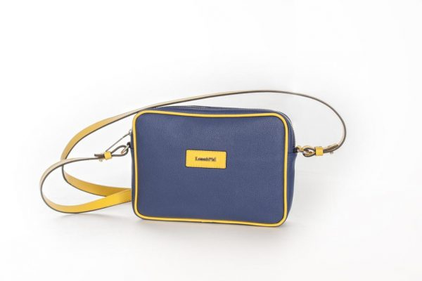 Bolso Shoulder Bag lona y piel amarillo