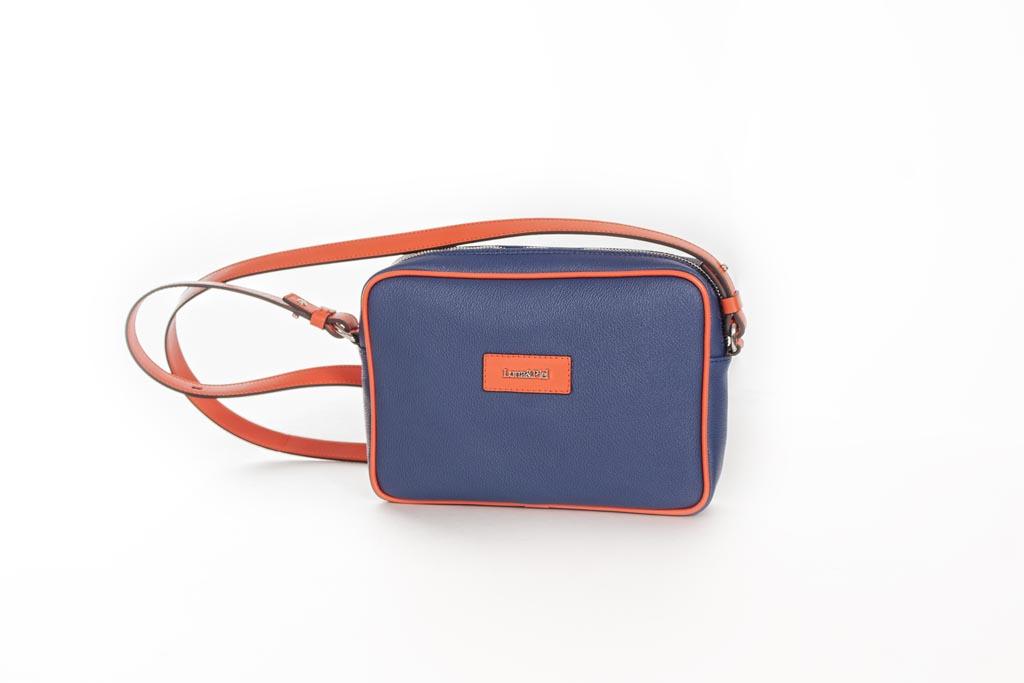 Bolso Shoulder Bag lona y piel naranja