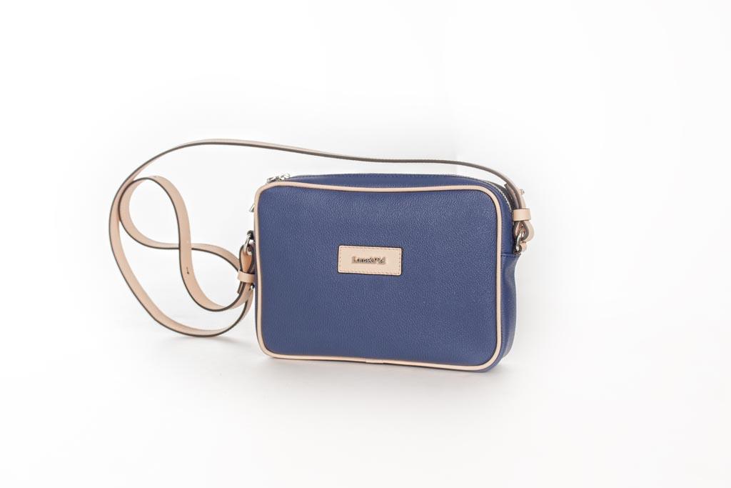 Bolso Shoulder Bag lona y piel beige