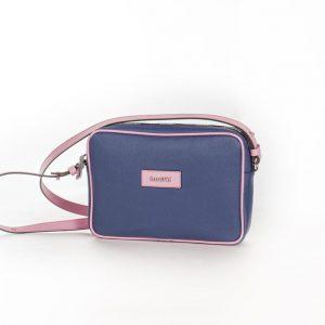 Bolso Shoulder Bag lona y piel rosa