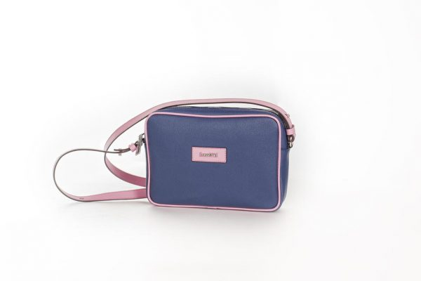 Bolso Shoulder Bag lona y piel rosa