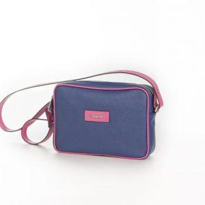 Bolso Shoulder Bag lona y piel rosa fucsia