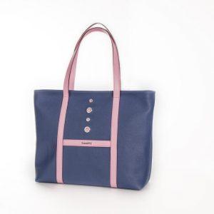 """Bolso """"Shopping"""" lona y piel rosa"""