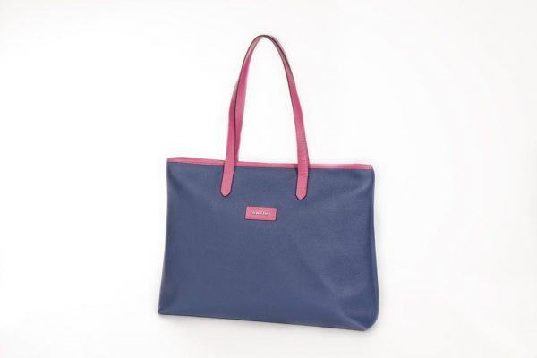 Bolso Shopping Bag lona y piel rosa fucsia
