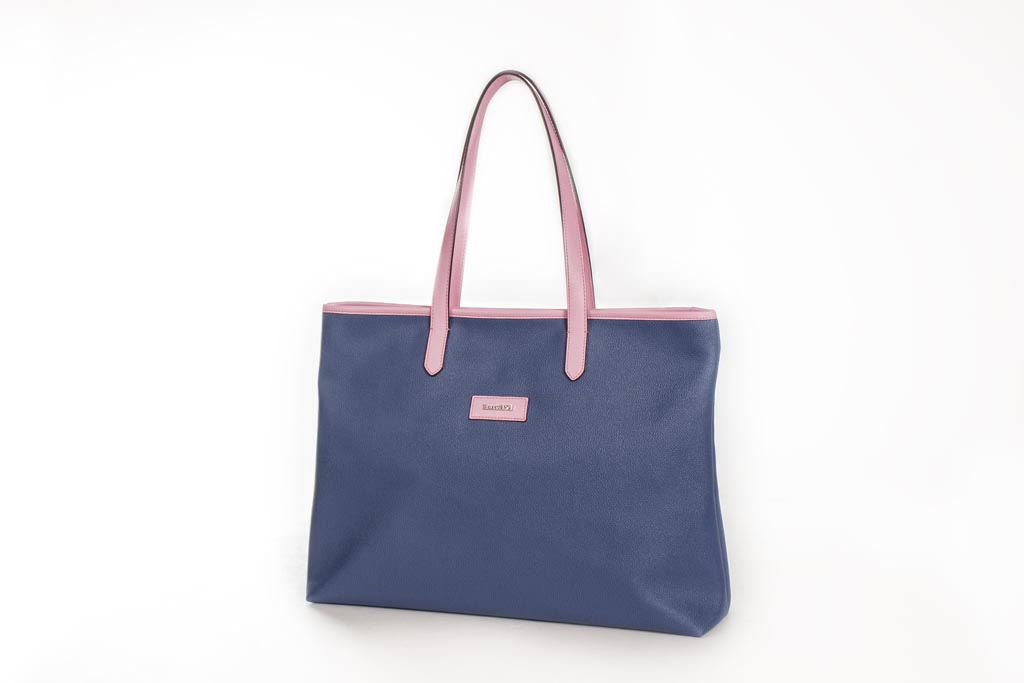Bolso Shopping Bag lona y piel rosa