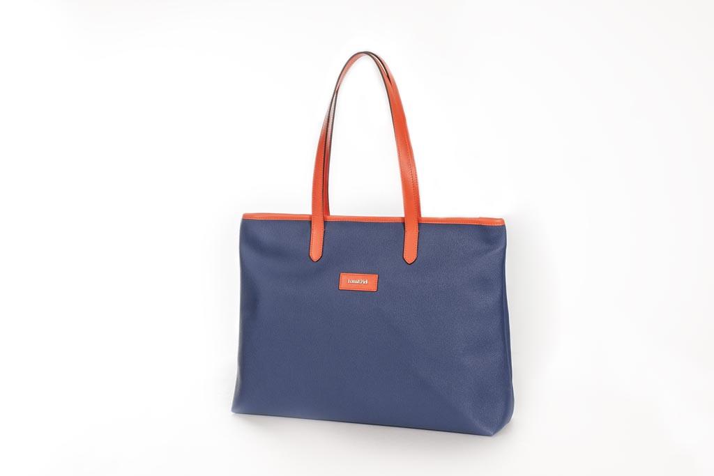 Bolso Shopping Bag lona y piel naranja