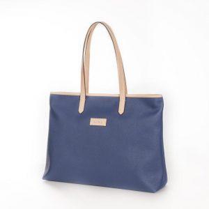 Bolso Shopping Bag lona y piel Beige