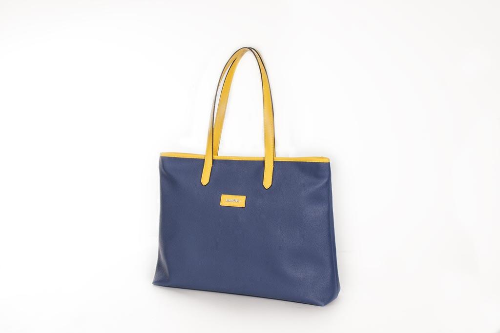 Bolso Shopping Bag lona y piel amarillo