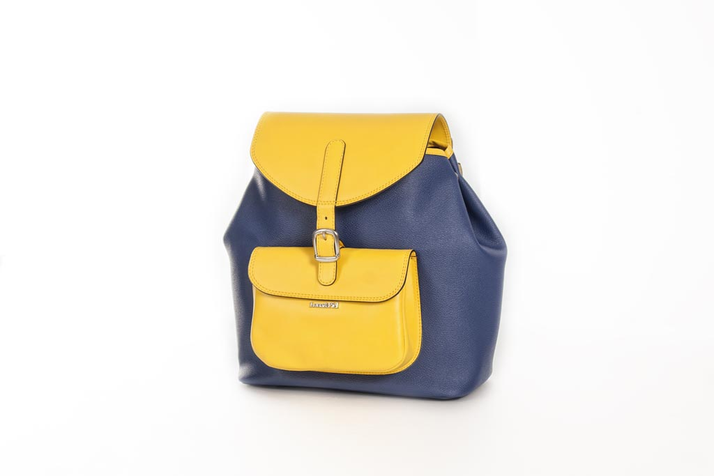 Mochila Back Pack lona y piel amarillo