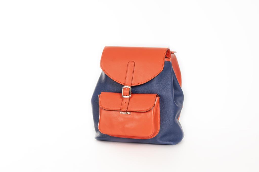 Mochila Back Pack lona y piel naranja