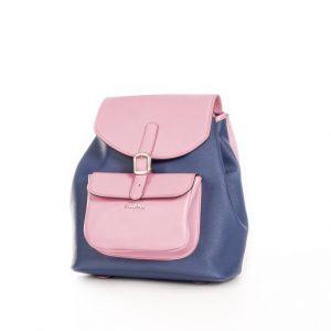 Mochila Back Pack lona y piel rosa
